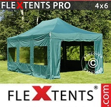 Racing tent 4x6 m Green, incl. 8 sidewalls