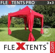 Racing tent 3x3 m Red, incl. 4 decorative curtains