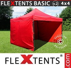Racing tent 4x4 m Red, incl. 4 sidewalls