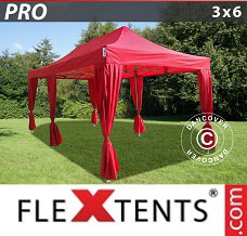 Racing tent 3x6 m Red, incl. 6 decorative curtains