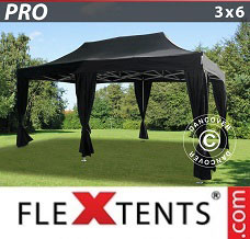 Racing tent 3x6 m Black, incl. 6 decorative curtains
