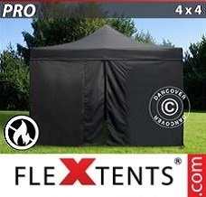 Racing tent 4x4 m Black, Flame retardant, incl. 4 sidewalls