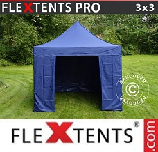 Racing tent 3x3 m Dark blue, incl. 4 sidewalls