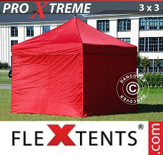Racing tent 3x3 m Red, incl. 4 sidewalls