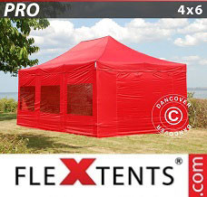 Racing tent 4x6 m Red, incl. 8 sidewalls
