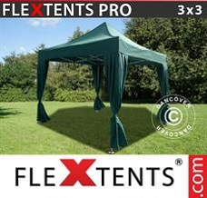 Racing tent 3x3 m Green, incl. 4 decorative curtains