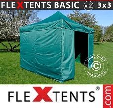 Racing tent 3x3 m Green, incl. 4 sidewalls