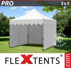 Racing tent 3x3 m White, incl. 4 sidewalls