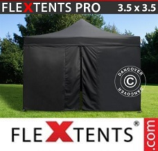 Racing tent 3.5x3.5 m Black, incl. 4 sidewalls