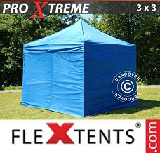 Racing tent 3x3 m Blue, incl. 4 sidewalls